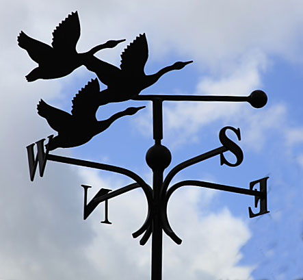Flying swans weather vane, wind vane flying geese, canada geese, swans