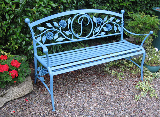 wrought iron garden bench, garden seat in metal