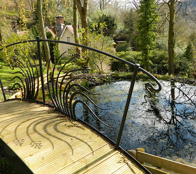 wooden bridge, garden bridge, stream bridge, japanese bridge, zen garden