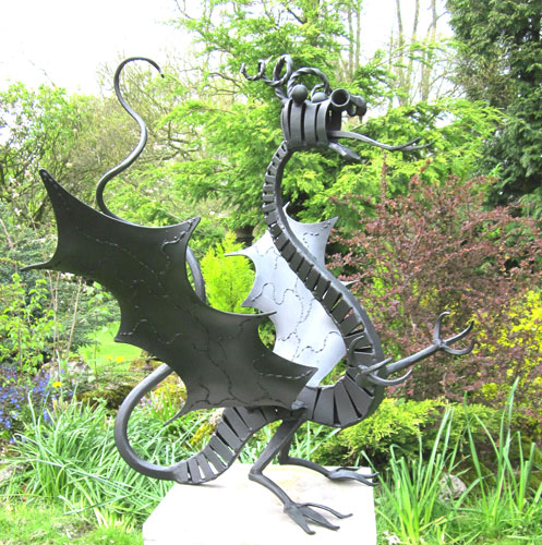 Sculpture Of Dragon In Metal For Gardens, Welsh Dragon Sculpture