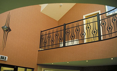 balcony railings in wrought iron with matching clock