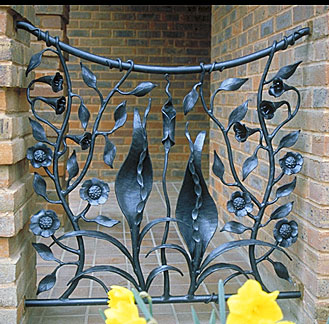 wrought iron railings with floral design