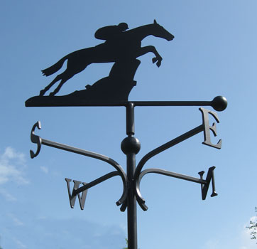weather vane with racehorse, equestrian riding vane