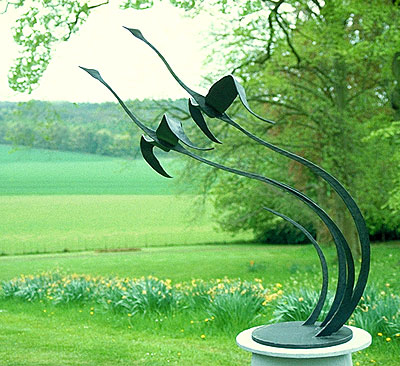 bird sculpture, flying bird sculpture, swans in flight, flying geese ornament for gardens, garden sculpture, art for gardens
