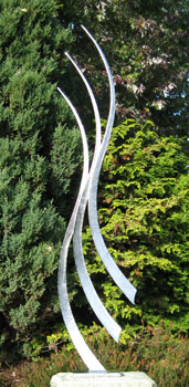 modern sculpture for gardens in stainless steel